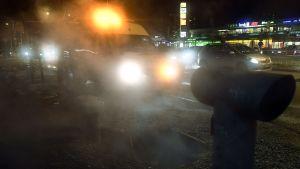 Ett sprucket fjärrvärmerör ledde till imma i luften i Östra centrum i Helsingfors