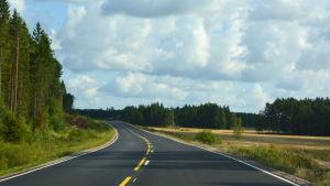Landsväg genom landsbygden.