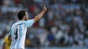 Gonzalo Higuain gjorde mål för Argentina.