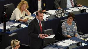 Manfred Weber kritiserar Alexis Tsipras i europparlamentet.