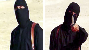 Bödel hotar sina offer. Bild från IS-video.