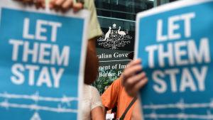 Protester mot Australiens migrations- och asylpolitik i Brisbane.