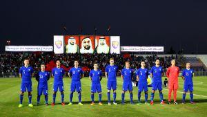 Finlands spelare inför matchen mot Marocko, Abu Dhabi, januari 2017.