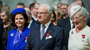 Drottning Silvia, kung Carl Gustaf och drottning Margarethe.