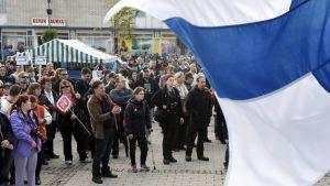 Demonstration mot immigration i Torneå 19 september 2015.