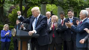 Donald Trump i talarstolen i Vita husets Rosenträdgård.