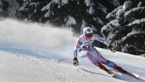 Tina Weirather vann damernas super-G i Garmisch 2015.