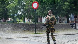 Stort säkerhetspådrag i samband med Donald Trumps besök i Bryssel.