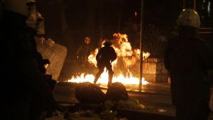 Protester mot Syriza i Aten.