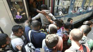 Flyktingar stiger ombord tåg i Budapest.