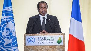 Kameruns president Paul Biya på klimatkonferensen i Paris 2015.