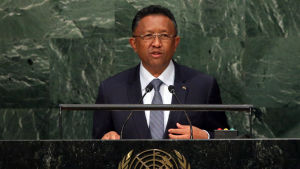 President Hery Rajaonarimampianina som här talar inför FN:s generalförsamling säger att granatattacken i Antananarivo var ett terrordåd riktat mot hans styre