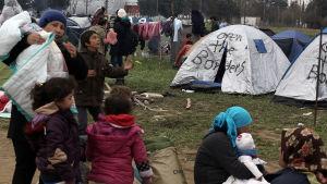 Flyktingläger i Idomeni i Grekland