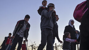 Flyktingar kommer över gränsen till Makedonien.