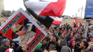 Endast regeringsanhängare tilläts delta i demonstrationen på Tahrirtorget inför 5 årsdagen av massprotesterna mot president Hosni Mubarak den 25 februari.
