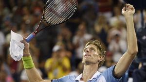 Kevin Anderson firar segern över Andy Murray, US Open 2015.