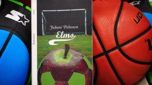 Juhani Peltosen teos Elmo koripallojen välissä.