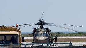 Den turkiska militärhelikoptern landade i Grekland den 16 juli 2016.