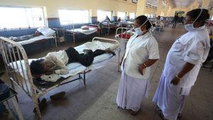 En indisk tuberkulospatient på sjukhus i Bhopal, Indien.