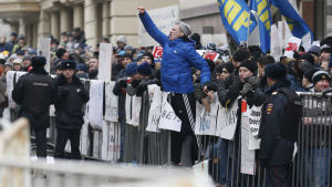 Protester i Moskva mot nedskjuningen av det ryska planet