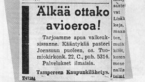 Pastori Joensuu startade familerådgivningen i Finland 1944.