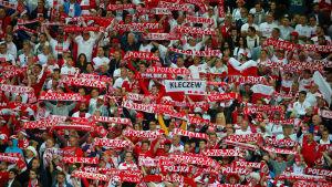 Polska supportrar följer med EM i fotboll.