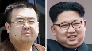 Nordkoreas diktator Kim Jong-Un (t.h.) och hans halvbror Kim Jong-Nam (t.v.)