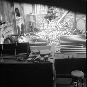 Viipurin tuomiokirkko pommituksen jälkeen 5.2.1940