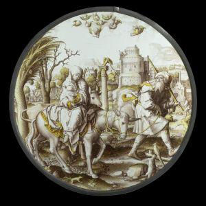 Joosef, Maria ja Jeesus-vauva pakenevat Egyptiin. Maria ja Jeesus aasin selässä. Dirck Vellertin lasityö.