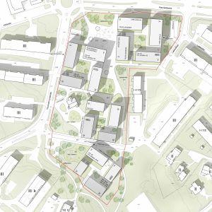I vinnarförslaget till idétävlingen om tomten kring Grankulla stadshus, Huvilat, bevaras parken men stadshuset rivs och bostadshus med affärslokaler byggs här i stället.
