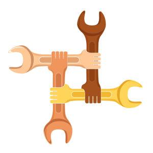 Fyra ritade skiftnycklar som i en ändan har en hand och som alla håller i varandra så det bildas en kvadrat.