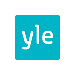 turkoosilla pohjalla neliönmuotoinen Ylen logo valkoisella tekstillä