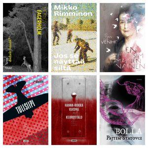 Pärmarna på de böcker som är nominerade till Finlandiapriset 2019.