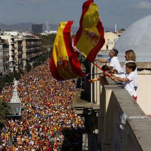 Demonstranter i Barcelona för ett enat Spanien