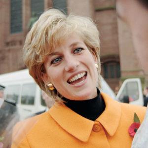 Prinsessan Diana ler medan hon pratar med en person i Liverpool, 1995.