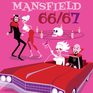 Piirretty juliste dokumenttielokuvaan Mansfield 66/67.