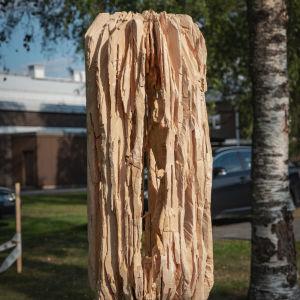 Puuveistos, puinen kehikko, jonka sisällä ihmishahmo