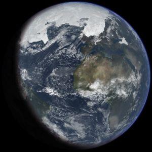 Jorden som den såg ut under förra istiden (konstnärens uppfattning).