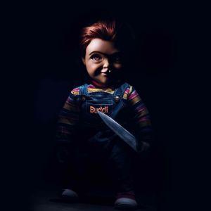 Dockan Chucky i närbild.
