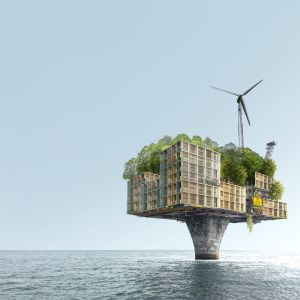 Fossiilisten polttoaineiden jälkeisessä maailmassa öljynporauslautoista tulee asuinpaikkoja, joissa energiaa saadaan esim. tuulivoimasta.