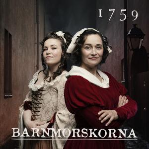 Julia Korander och Nina Hukkinen som barnmorskorna Maria Lizelia och Catharina Aspelin.