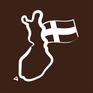 Piirroskuva, jossa Suomen kartta ja Suomen lippu.