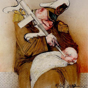 Ralph Steadmanin kuva. Dokumenttielokuvasta For No Good Reason.