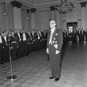Presidentti Urho Kekkosen virkaanastujaiset Eduskuntatalossa Helsingissä 1.3.1956.