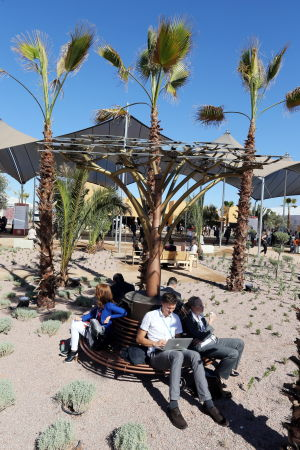 Deltagare i FN:s klimatmöte i Marrakech i november 2016 sitter under solpaneler