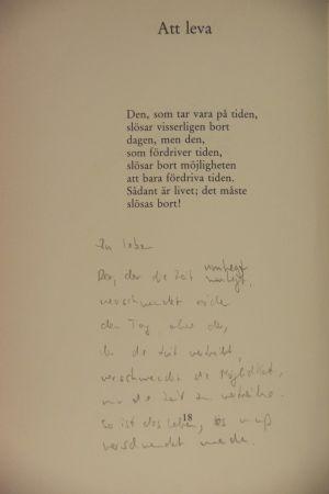 Gösta Ågrens dikt Att leva ur boken Jär (1988)