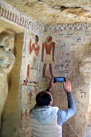 Bild från grav i Sakkara, Egypten.