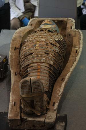 Sarkofag i Egypten som presenterades 14.11.2020