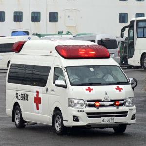 En smittad passagerare hämtades av en ambulans från Diamond Princess på söndag förmiddag.