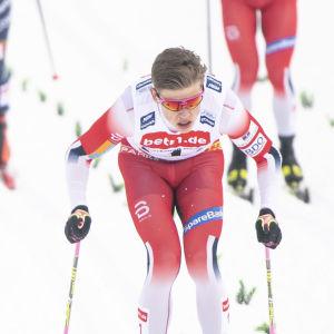 Johannes Hösflot Kläbo stakar framför konkurrenter.